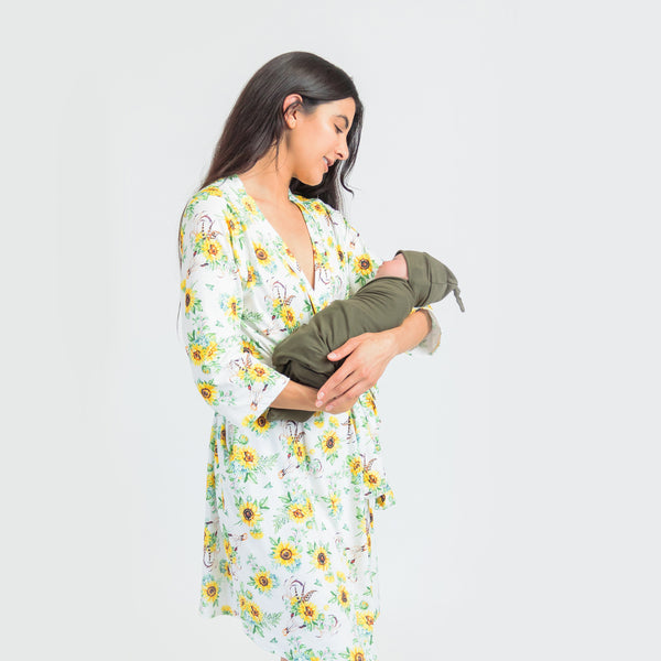 Sunflower + Green - Robe and Swaddle Set