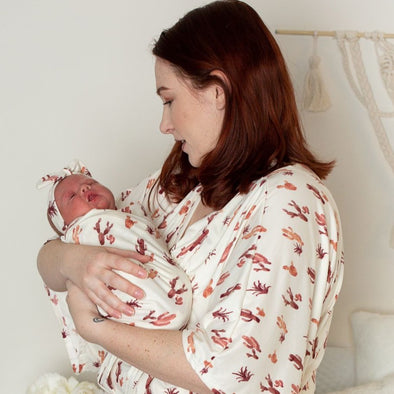 Mauve Cactus - Robe and Swaddle Set - Kins & Kay