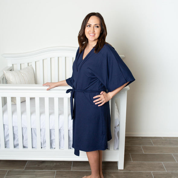 Navy Solid - Robe and Swaddle Set