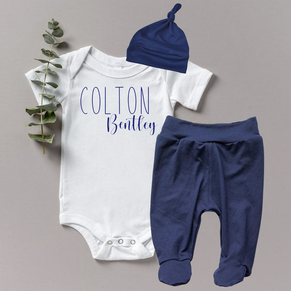 Baby Boy Coming Home Outfit- Navy Solid