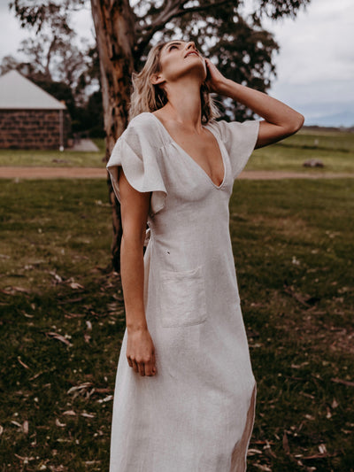 Hemp natural fibre dress gown