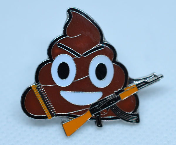 "Poo or Ice cream Emoji going to battle (""War is sh***y!"") pin"