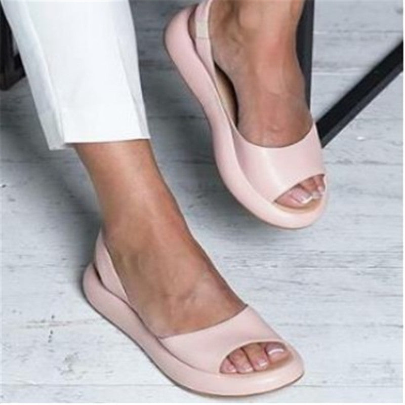 Footbed Peep Toe Slip On Sandals