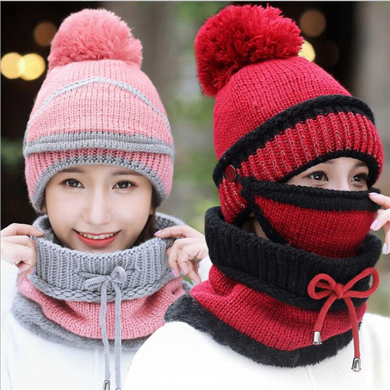 Beanie hat with scarf and mask