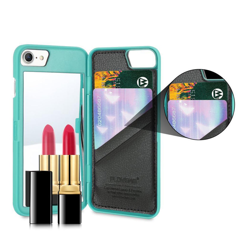 Hidden Makeup Mirror Iphone Case Wallet