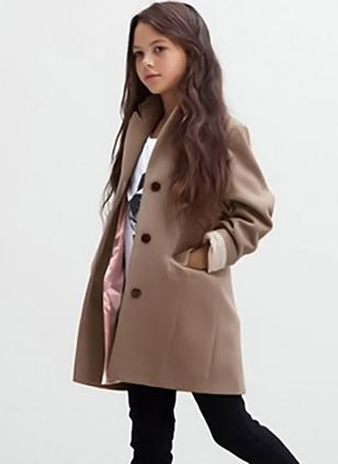 Girls' Basic Solid Lapel Coats