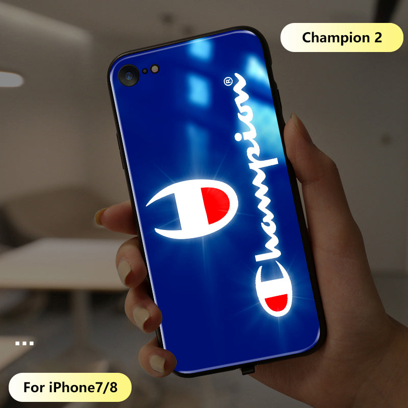 Champion call flash iPhone case new light tide brand personality all-inclusive ultra-thin glass case