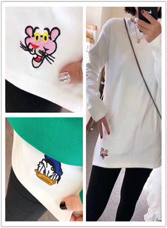 Embroidered long-sleeved t-shirt bottoming shirt