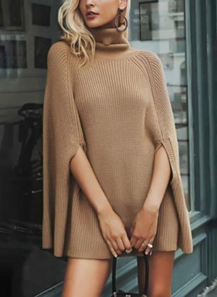 Solid Sweater Half Sleeve Mini Shift Dress