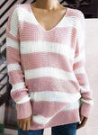 V-Neckline Stripe Loose Long None Sweaters