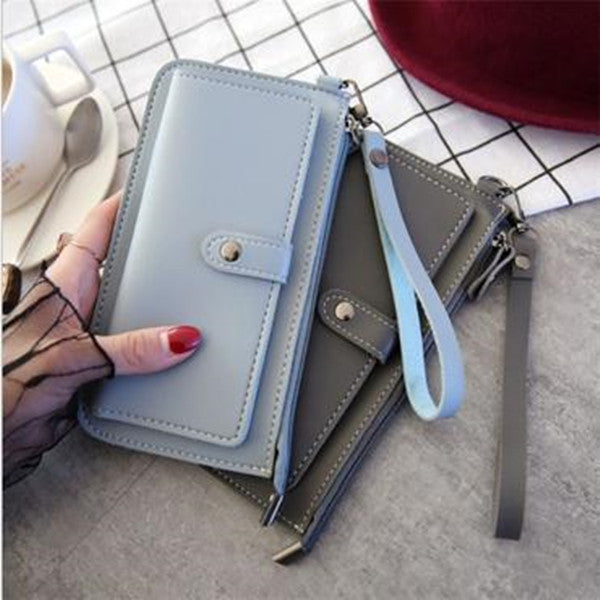 Long multi-function phone bag zipper multi-card buckle bag