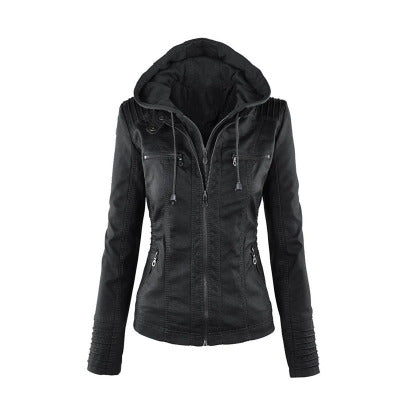 Zippered leather large size women  jacket