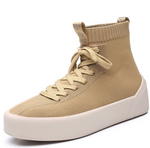 Elastic flying woven high-top plus velvet socks shoes