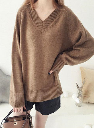 Fashion Solid V-Neck Loose Knit Sweater Outerwear Pullover