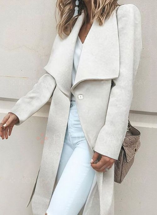 Long Sleeve Lapel Sashes Coats
