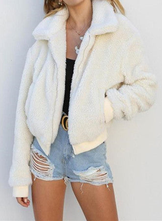Women Casual Warm Oversized Teddy Fur Coat Trendy Jacket