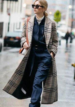 Lapel Plaid Tweed Long Sleeve Woolen Coat