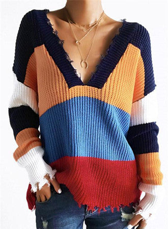 V-neck knit striped sweater