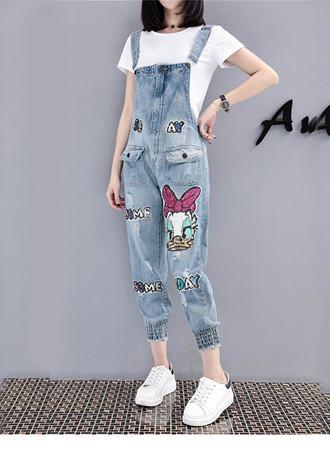 Loose wild denim overalls