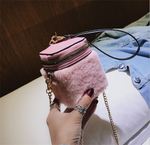 Fluffy square bag cosmetic bag