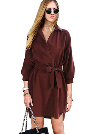 Long sleeve lapels waist temperament dress