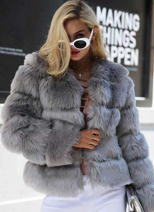 Long Sleeve Collarless Fur jacket