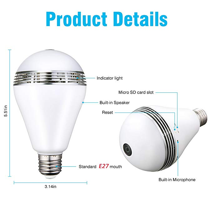 WiFi Light Bulb Security Camera- Bonus 16GB SD Card, Hidden Camera