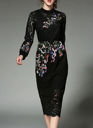 Floral Lace Long Sleeve Midi A-line Dress