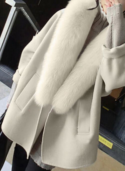 Long Sleeve Lapel Unremovable Fur Collar jacket