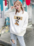 Letter printed hooded sweater