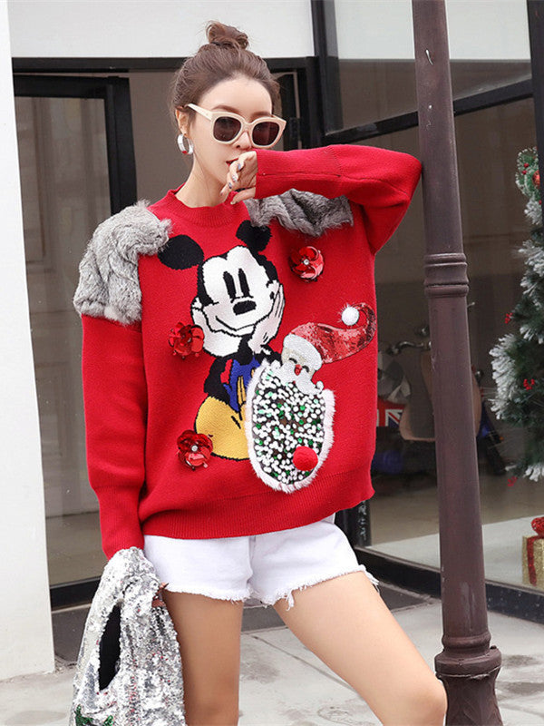Cartoon collage faux fur round neck pullover sweater