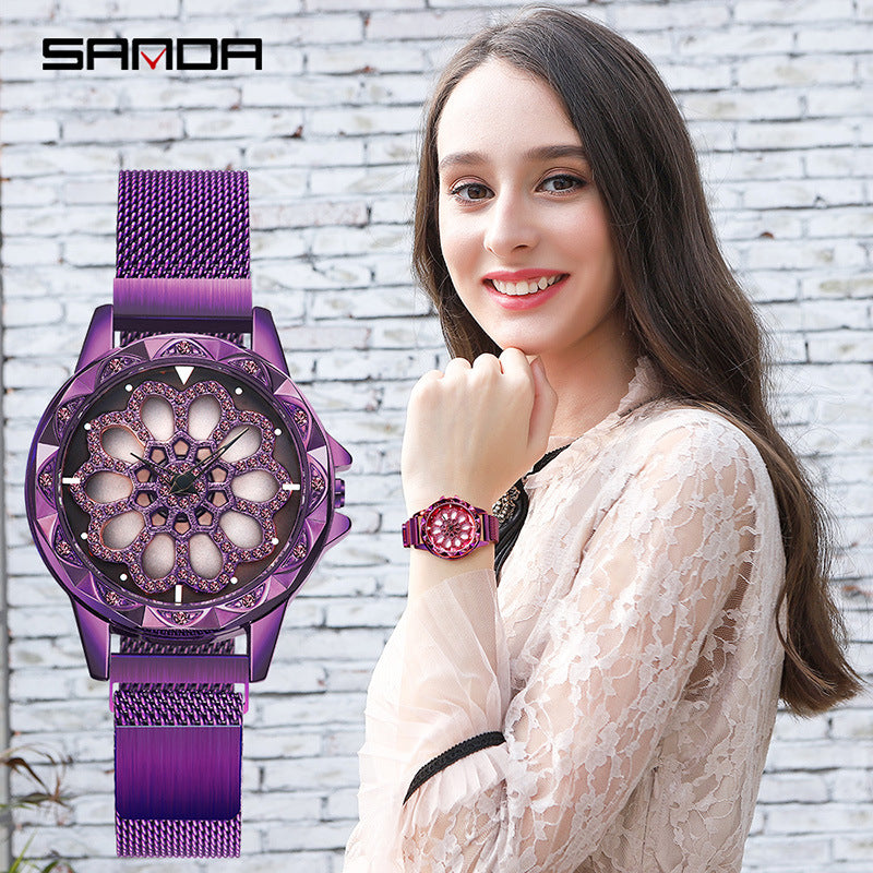 Simple Milan mesh belt rotating female watch