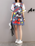 Fake strap dress print short sleeve dress