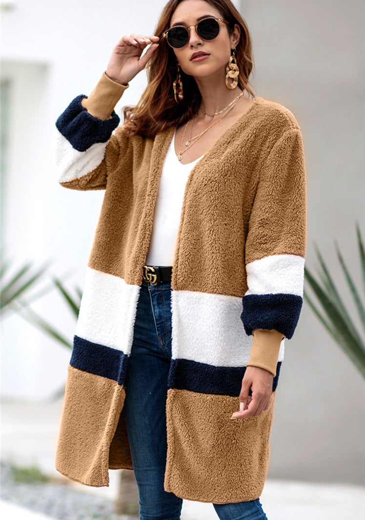 Striped mid-length cardigan plush coat