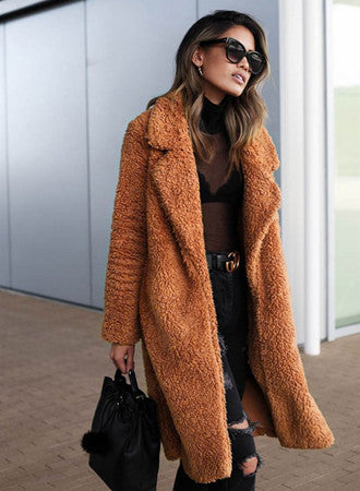 Lapel pocket long-sleeved coat