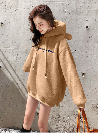 Lamb hair plus velvet thick letter hooded embroidered sweater