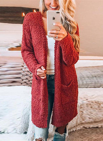Solid color long sweater coat