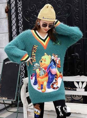 Cartoon sequined V-neck sweater