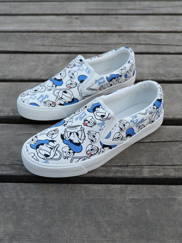 Duck Cute fresh printed loafers shoes