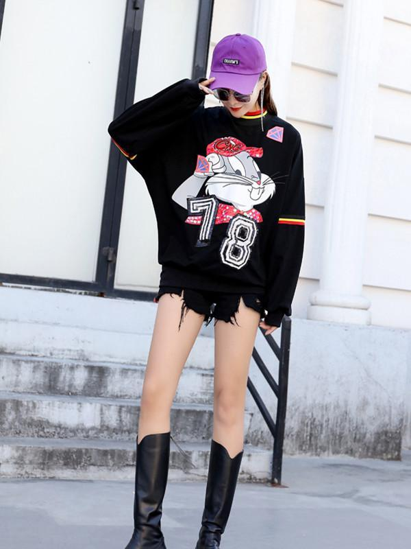 Cartoon printed sequins loose round neck sweater