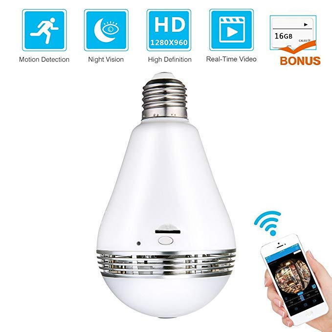WiFi Light Bulb Security Camera- Bonus 16GB SD Card, Hidden Camera Fisheye  360° Panoramic for Remote Home Security System, Motion Detection and Two
