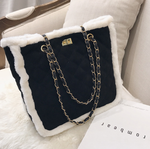 Embroidered wool shoulder bag with zipper