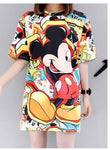 Large size cartoon printed short-sleeved top