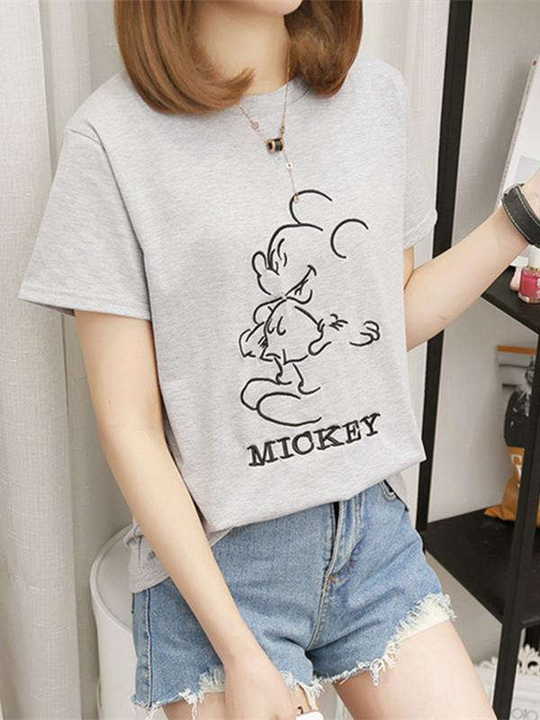 Round neck short sleeve embroidered T-shirt