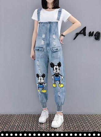 Sequined beaded denim overalls