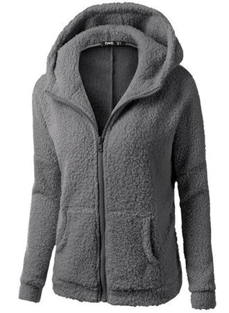 Plus Size Loose Long Sleeve Warm Plush Hoodie Coat