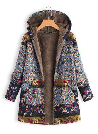 Printed plus velvet hooded warm coat