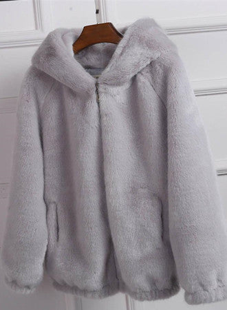Faux fur solid color loose plush coat