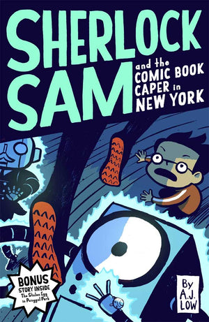 Cover of chapter book 'Sherlock Sam and the Comic Book Caper in New York' by A. J. Low and Drewscape