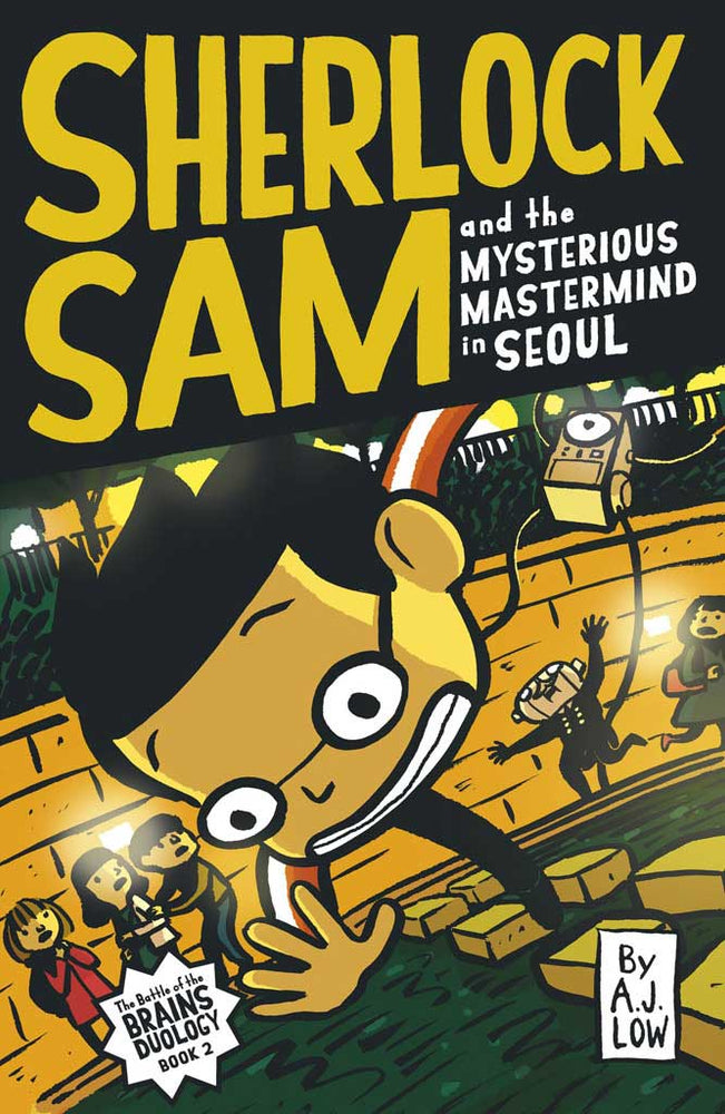 Cover of chapter book 'Sherlock Sam and the Mysterious Mastermind in Seoul' by A. J. Low and Drewscape